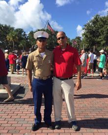 Firefighter Mark Martinez (Left) at his graduation with his dad Firefighter Carlos Martinez (Right)